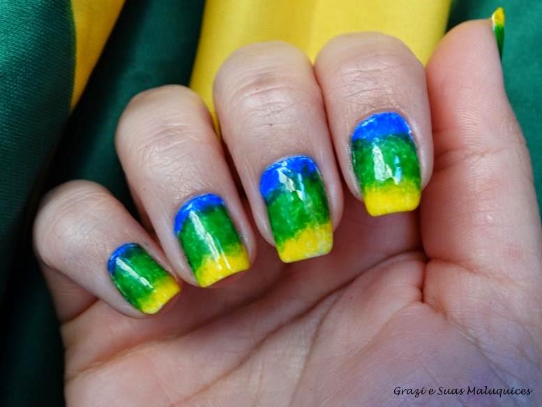 Esmaltação Degradê com Esponja - Copa do Mundo Brasil