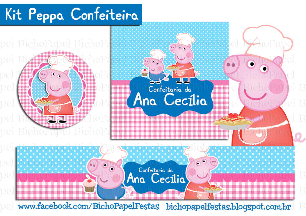 Kit Peppa Pig confeiteira cozinheira