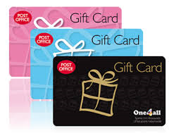 Three Post Office gift cards, one pink, one blue and one black in an offset pile.