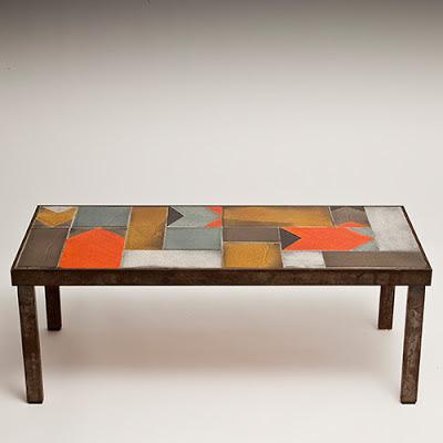 galerie riviera roger capron table basse coffee table glazed ceramic tiles. Black Bedroom Furniture Sets. Home Design Ideas
