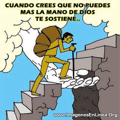 Cuando crees que no puedes mas la mano de Dios te sostiene...
