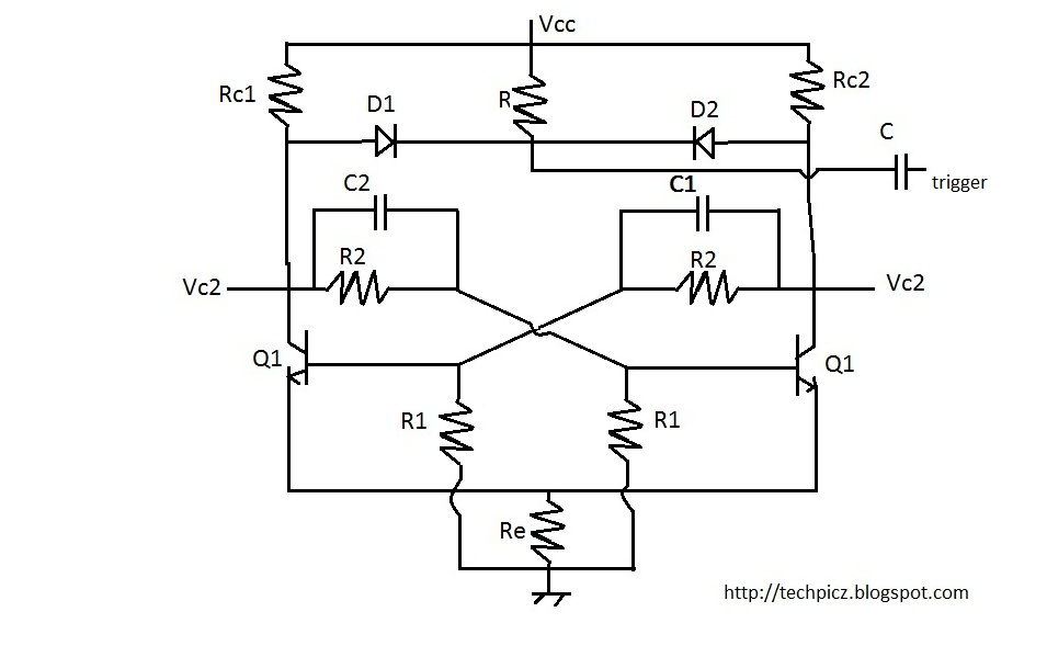 techpicz  bistable multivibrator using bc107