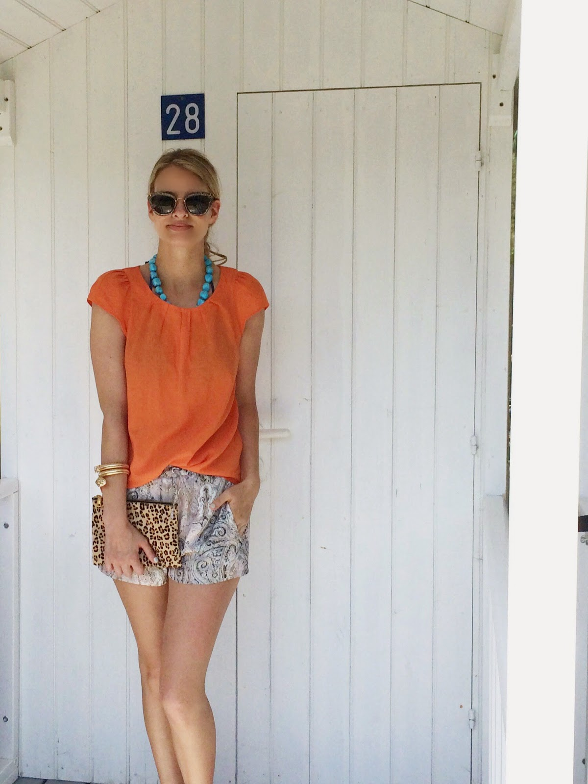 outfit of the day, printed shorts, organge top, print mix, leopard print clutch, zara outfit, zara lookbook, lookbook, street style, summer outfit, j crew, j crew clutch, anna dello russo jewellery, hm, miu miu sunglasses, cat eye sunglasses