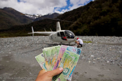 hard earned cash transforming into unimaginable transportation, cash for helicopter, kayak, heli, nz, new zealand, chris baer,