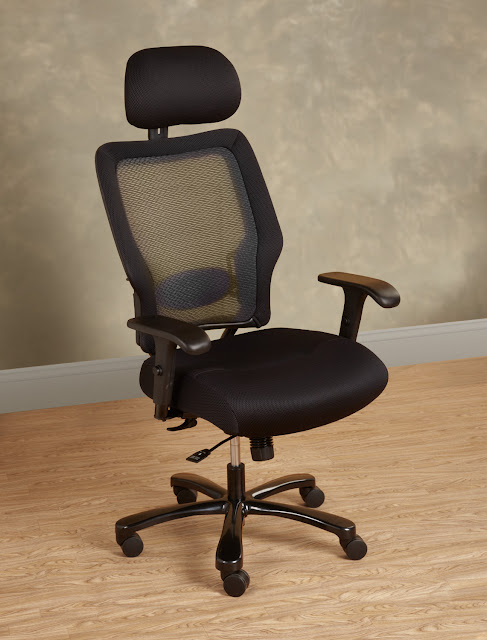 beautiful dark brown heavy duty office chair with the wheel legs and armstool plus headboard