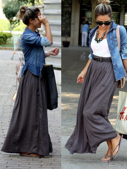 impactful denim maxi skirt outfit