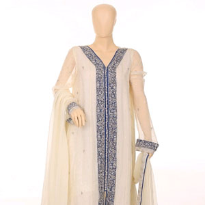 white crinkle Chiffon Dress pakistan