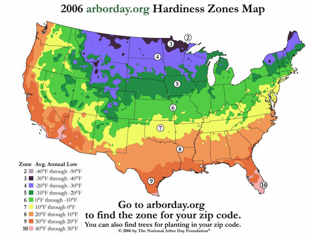 Weather map of usa for Gardening zones colorado