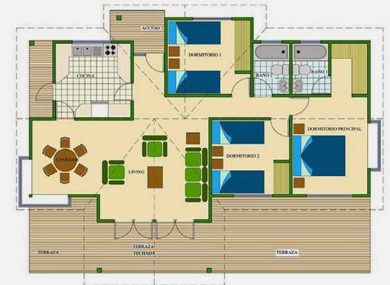 Planos de casas plano de casa de campo for Fotos de terrazas de casas de campo