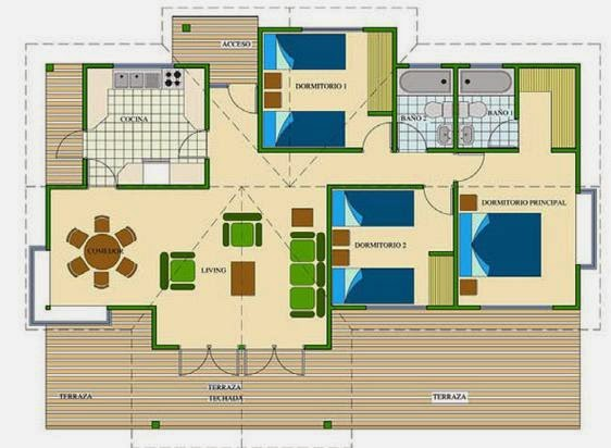 Planos de casas plano de casa de campo for Plano casa campo