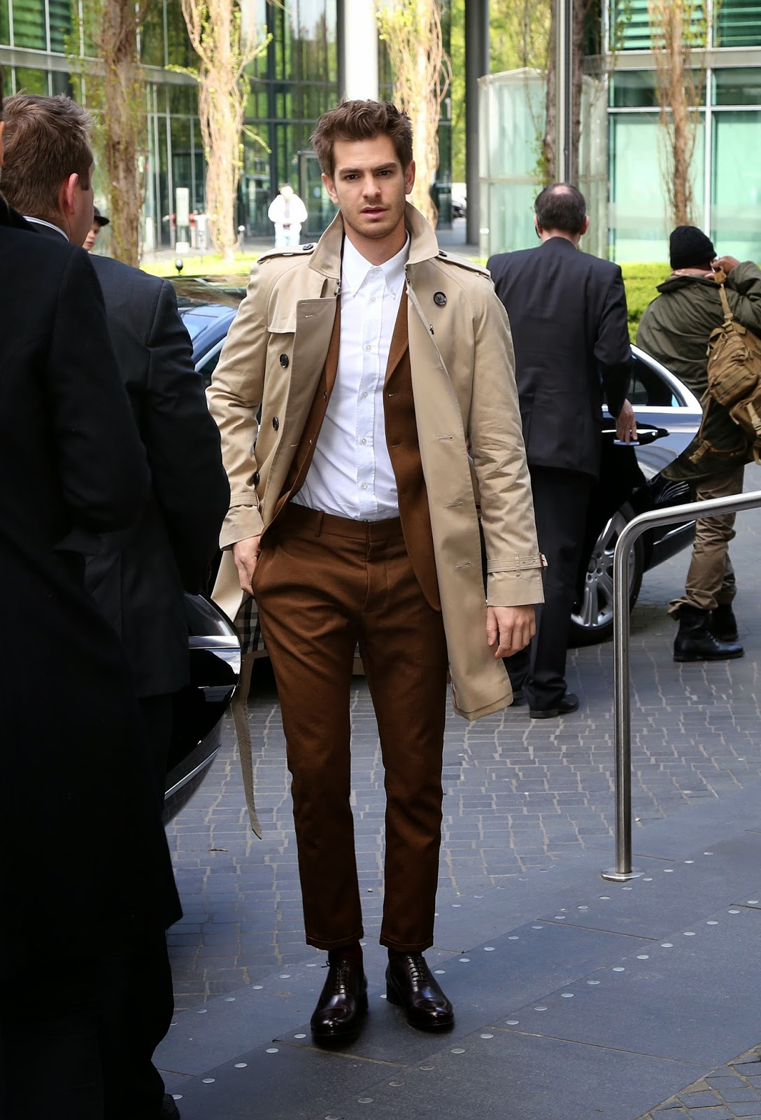 Andrew Garfield's Burberry trench coat - Berlin Street Style April 2014