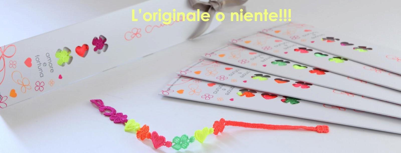 packaging braccialetti cruciani amore e fortuna multicolor fluo