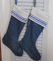 Denim and Linen Christmas Stockings