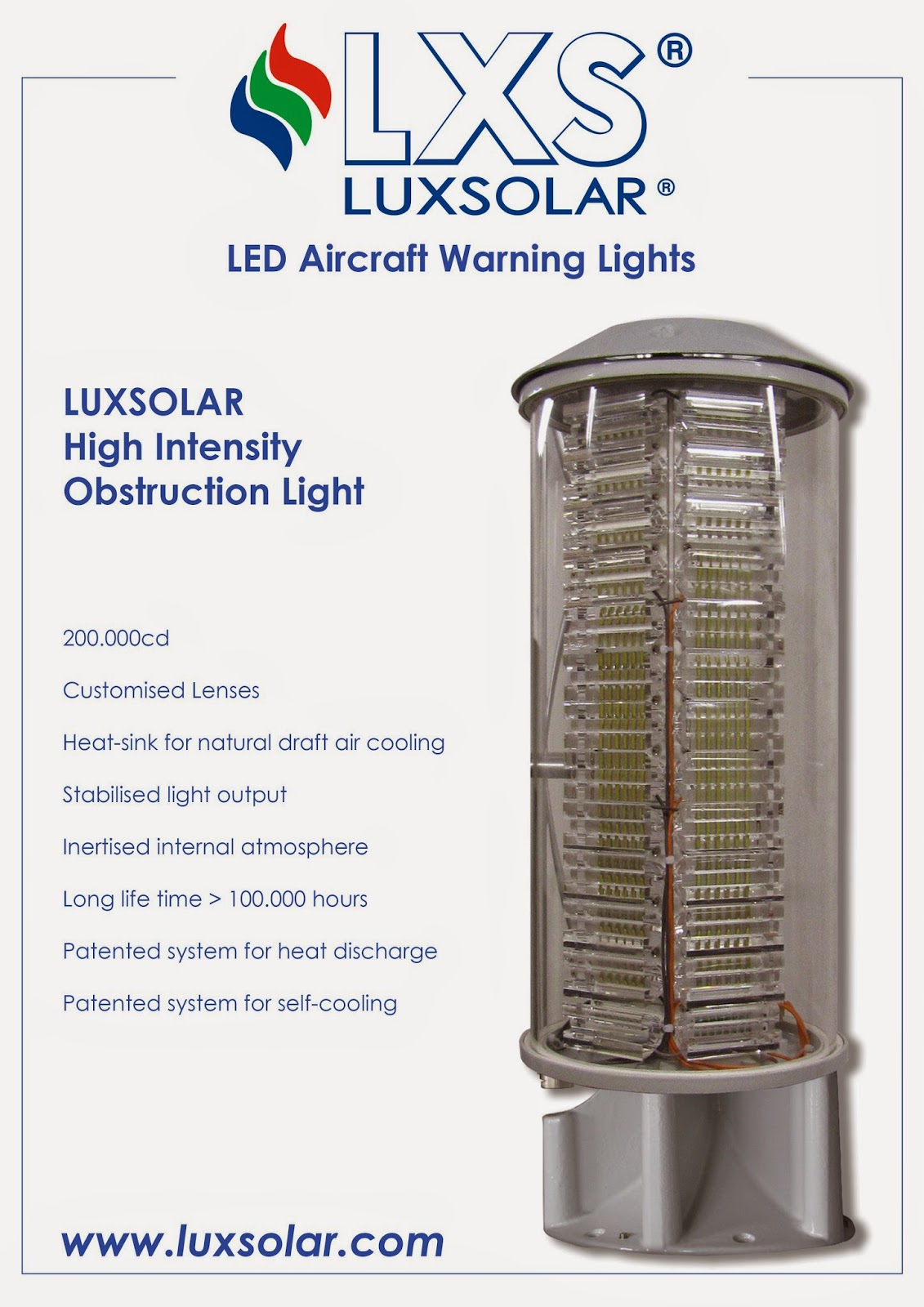 ICAO high intensity aviation obstruction light