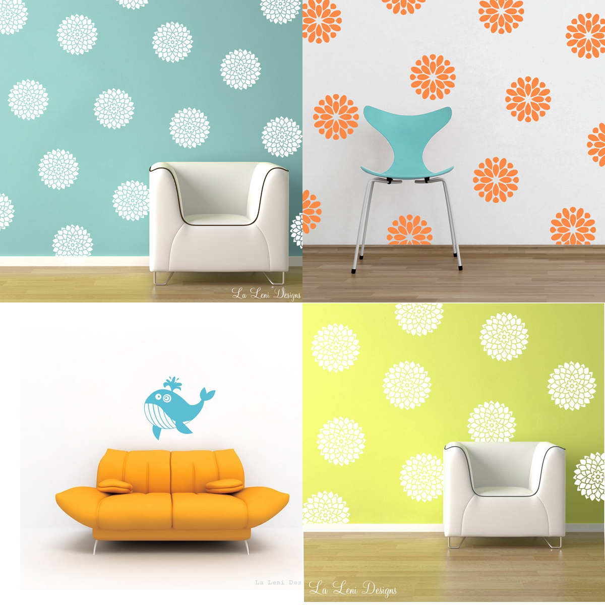 zafirenia Flower Wall Decals Recent Etsy Faves