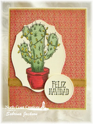 North Coast Creations Stamp set: Cactus Lights, Our Daily Bread Designs Custom Dies: Elegant Ovals, Our Daily Bread Designs Paper Collection: Christmas Card Collection 2015