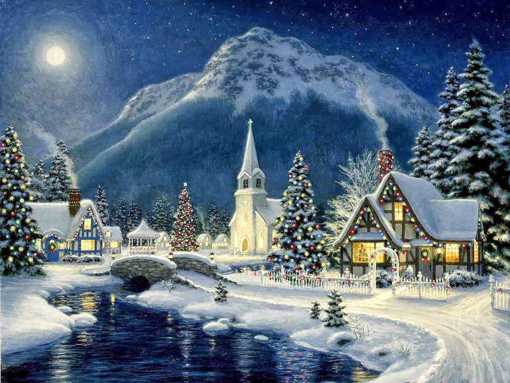 old fashioned christmas town wallpaper -#main