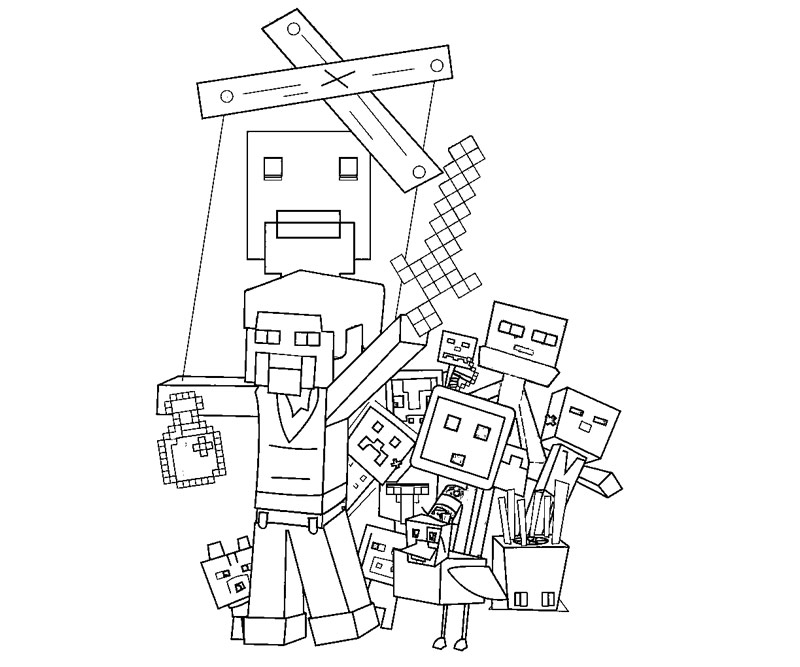 Printable minecraft 1 coloring page