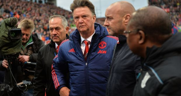 Manchester United manager Louis van Gaal after his side's 2-0 English Premier League defeat to Stoke City at the Britannia Stadium on St Stephen's Day. Photograph: Paul Ellis/Getty Images.