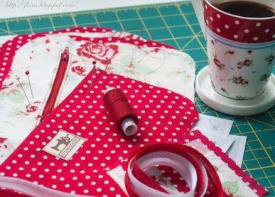 ткань текстиль чашка кофе шпильки булавки красный шитье