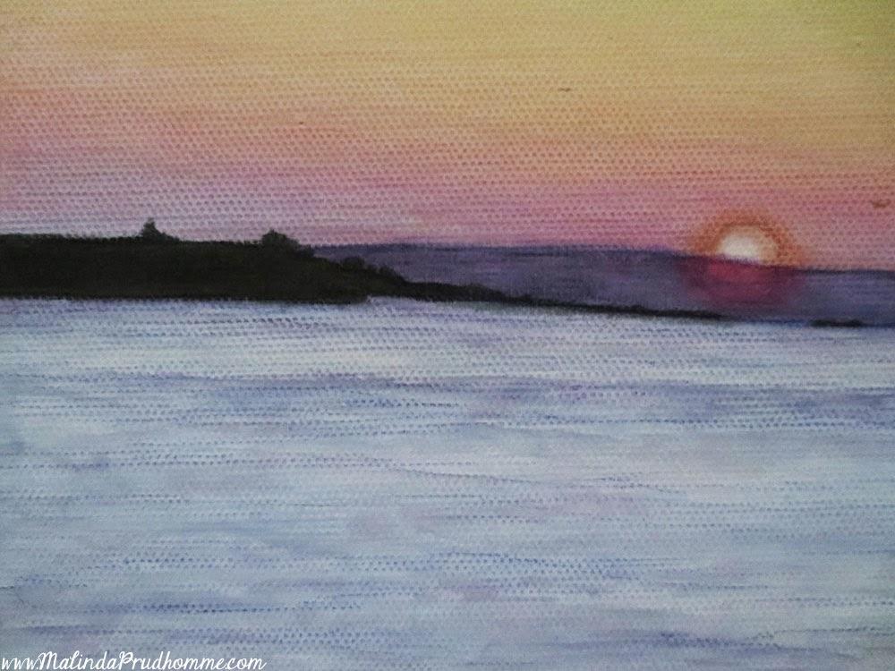 mykonos sunset, art, painting, mixed media art, mixed media painting, travel artist, travel art, travel artwork, greece, greek islands, malinda prudhomme, original artwork, Toronto Artist,
