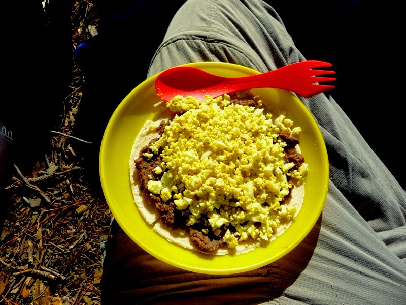 black bean and egg burrito breakfast in the BWCAW