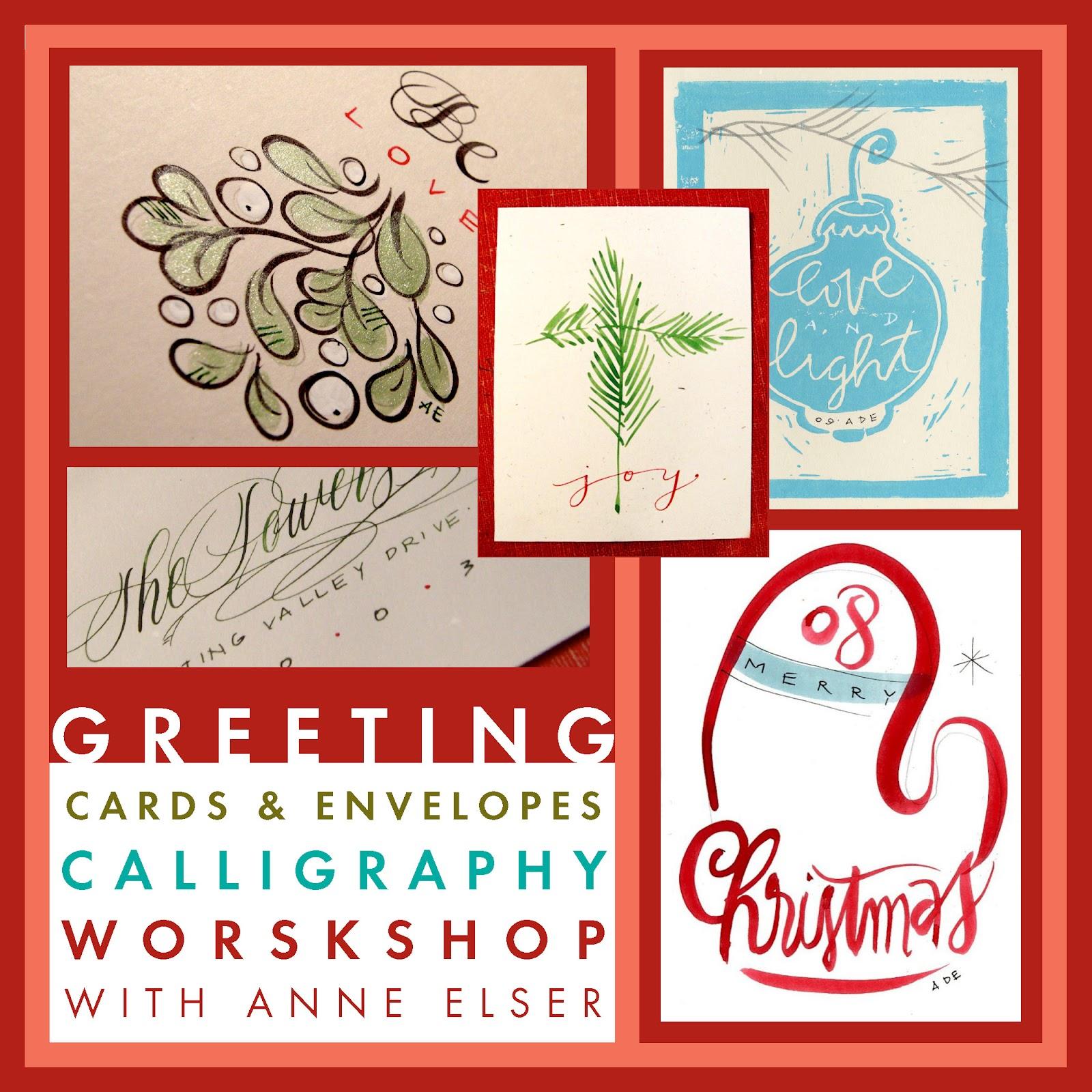 Anne elser greeting cards envelopes calligraphy