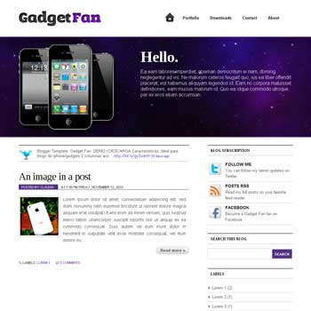 Gadget Fan blogger template. image slider blogger template. 3 column footer template blog