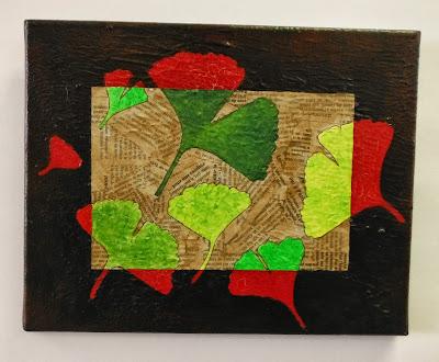 motif décoratif feuille gingko biloba création originale sur toile collage et peinture acrylique papier journal par mimi vermicelle