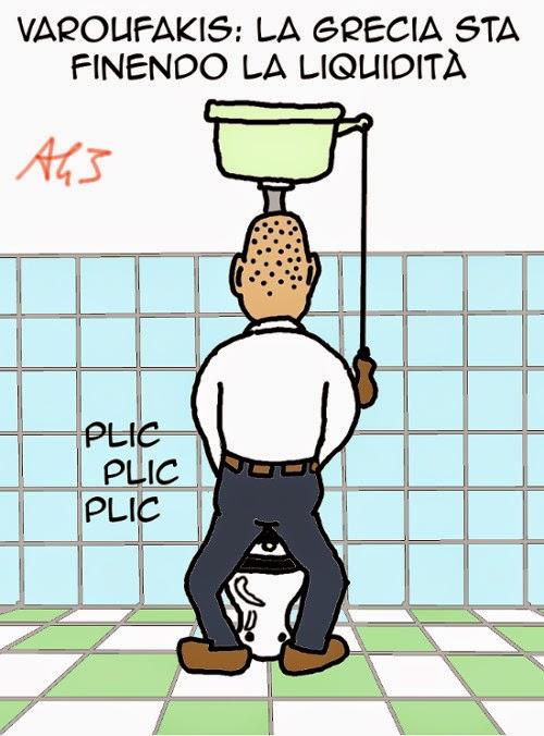 Varoufakis, Grecia, liquidità, BCE, satira, vignetta