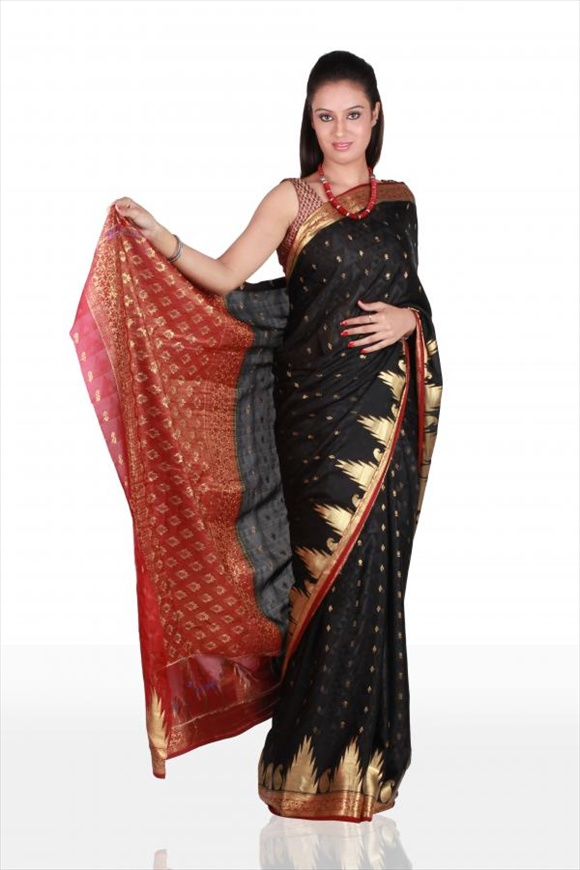 Black Art Crepe Banarasi Saree