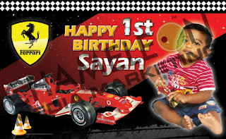 Racing Car, Formula 1 Themed Birthday Banner and Invitations with child photo