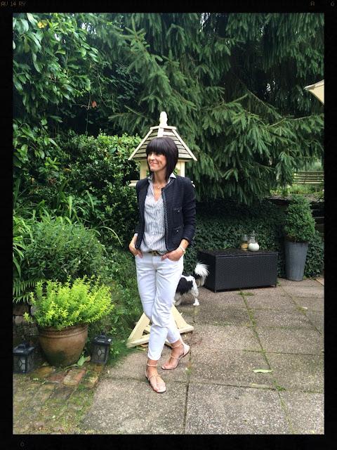 My Midlife Fashion, Zara, Stripes, striped shirt, white jeans, navy jacket, studded sandals, leopard print belt, animal print, boucle