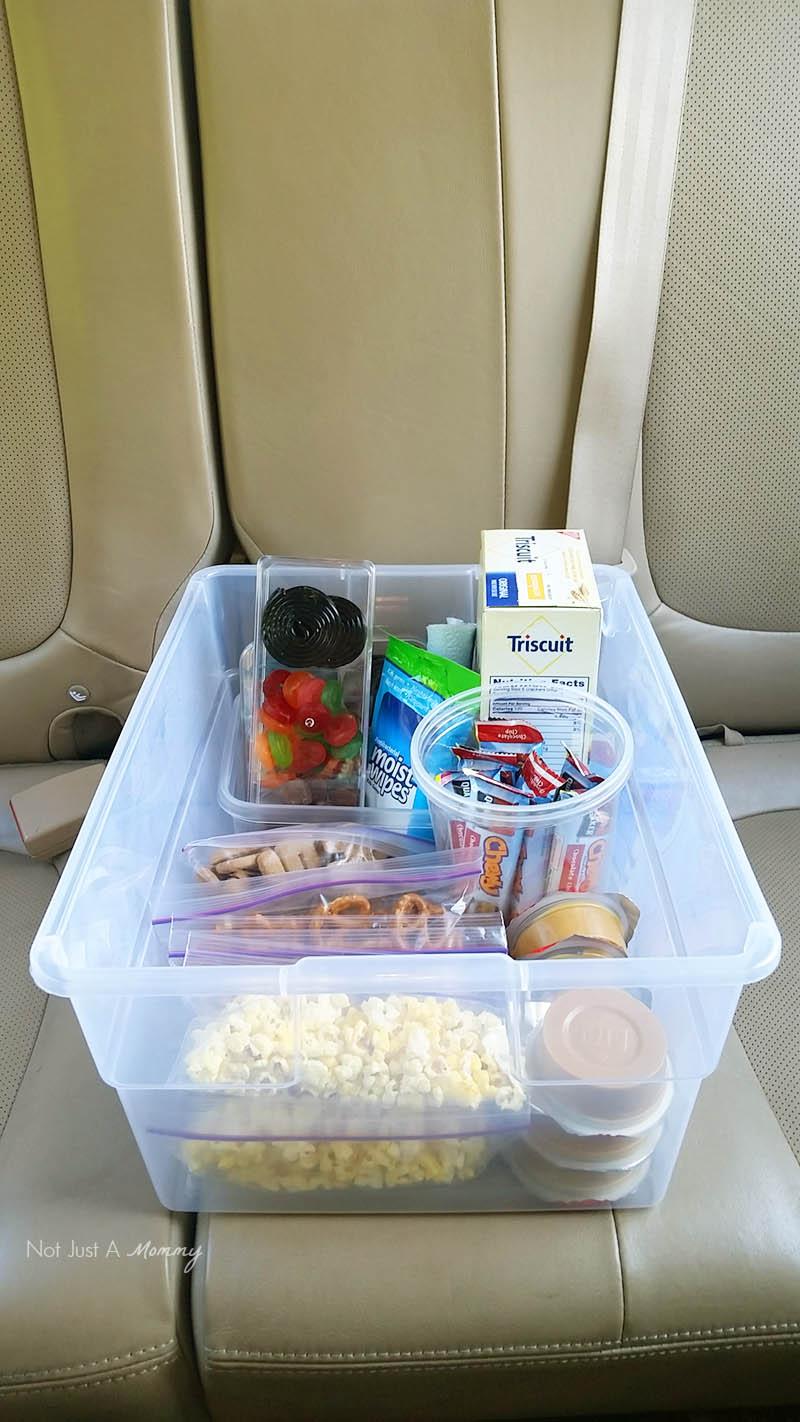 5 road trip snack hacks; snack bin