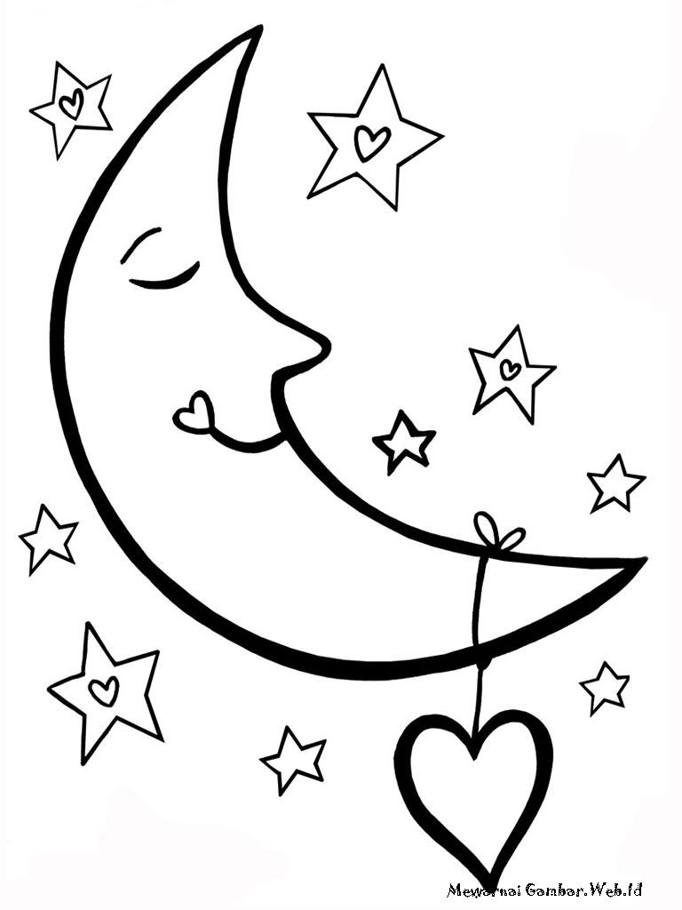 Mewarnai Gambar Bulan