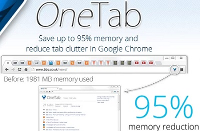 Make Google Chrome work on Less RAM with One Tab