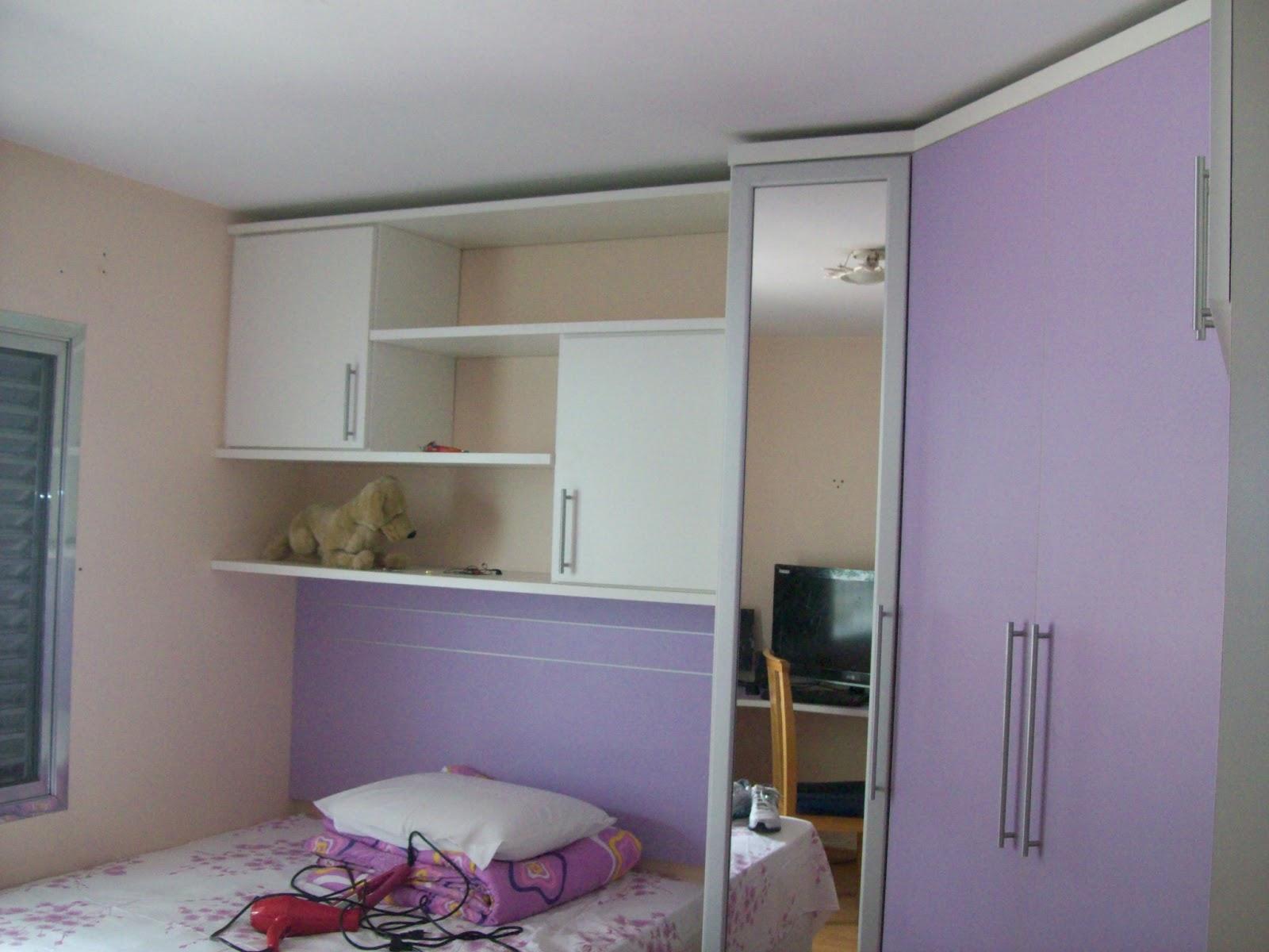 : Armário em L com cama embutida tendo também bancada para PC #61453E 1600x1200
