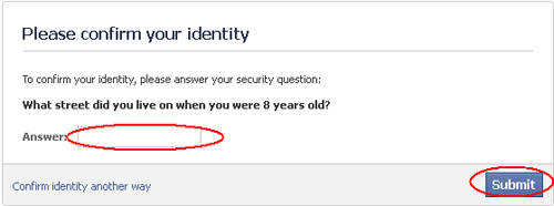 Answer your security quetion - Akun Facebook Dikunci Sementara