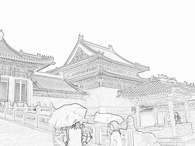 sketch of Chinese Imperial Palace structures