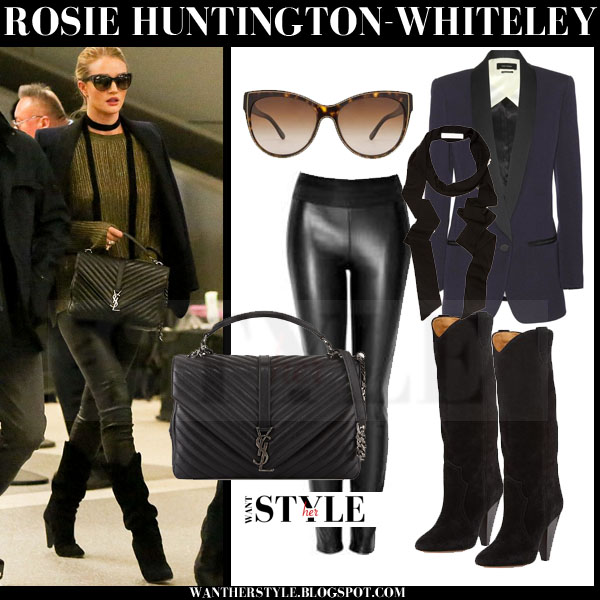 Rosie Huntington-Whiteley in blue isabel marant lahore satin blazer, black leather leggings and black suede slouchy isabel marant ruth knee boots what she wore models off duty