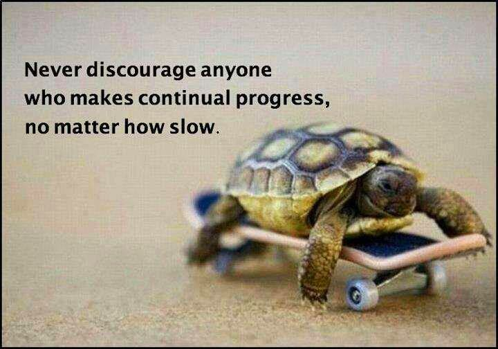 """Never discourage anyone...who continually makes progress, no matter how slow.""   - Plato"