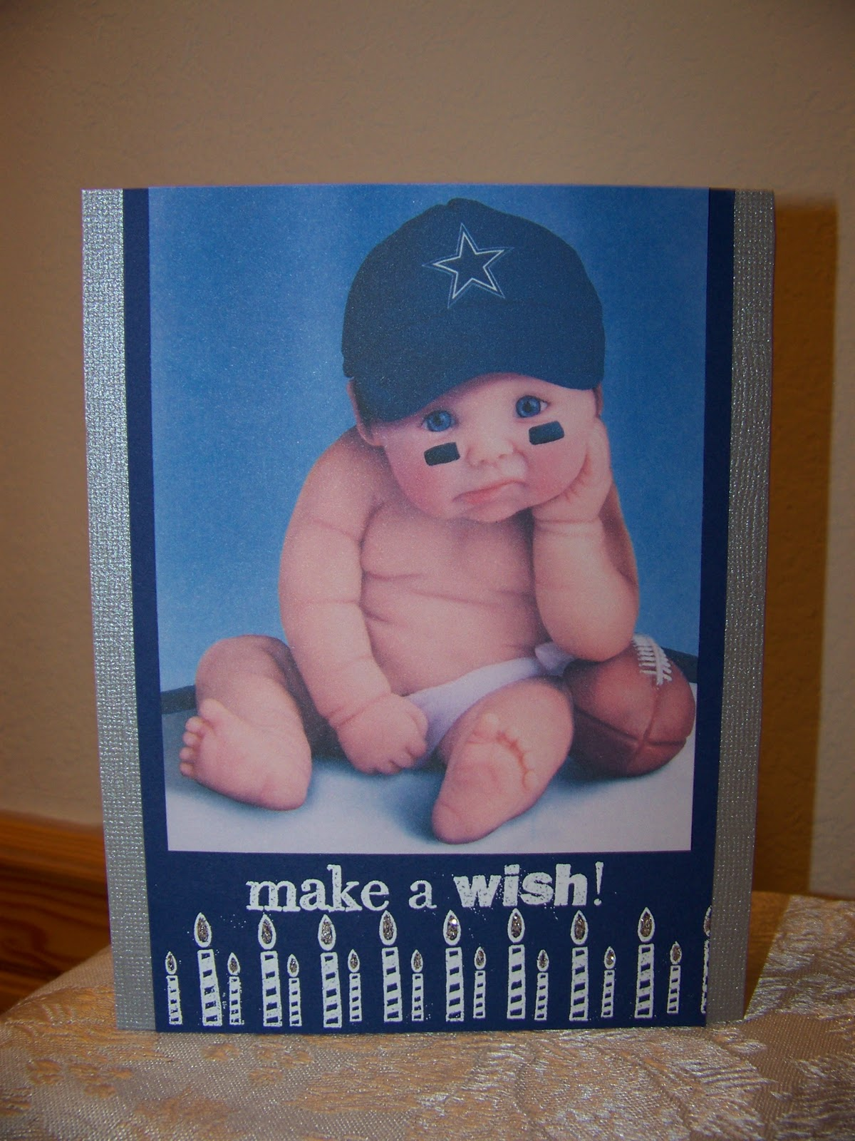 Crafty shell birthday card for guy i always have a hard time making cards for men but for this card when i seen this pic of the dallas cowboy baby i knew that would make a cute card bookmarktalkfo Gallery