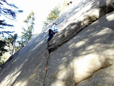 Daniel making his way up And She Was, an excellent 5.2 beginner climb on the clean rock of Notch Mountain Slab.  The Saratoga Skier and Hiker, first-hand accounts of adventures in the Adirondacks and beyond, and Gore Mountain ski blog.