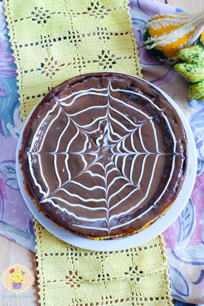 sernik z dyni, sernik dyniowy z pajęczyną, sernik z pajęczyną, pajęczyna z czekolady