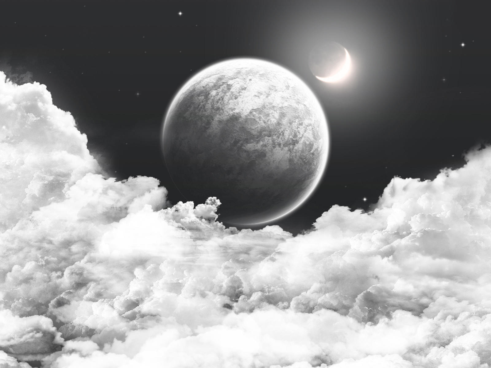 space wallpaper, clouds, moon