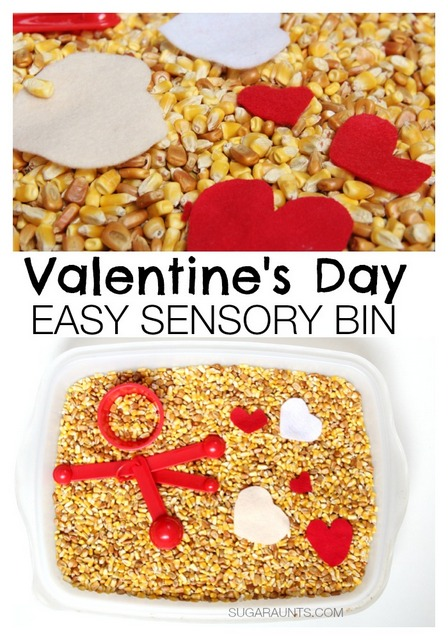 Easy Valentine's Day sensory bin idea for scooping and pouring.  Sometimes simple play is the best!