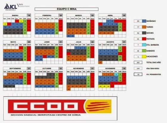 Ccoo iberpotash calendarios mina parrilla descansos for Comisiones obreras exterior