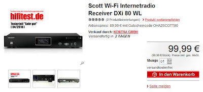 Internet-Tuner Scott DXi 80 WL als OHA für 89,99 Euro bei MeinPaket