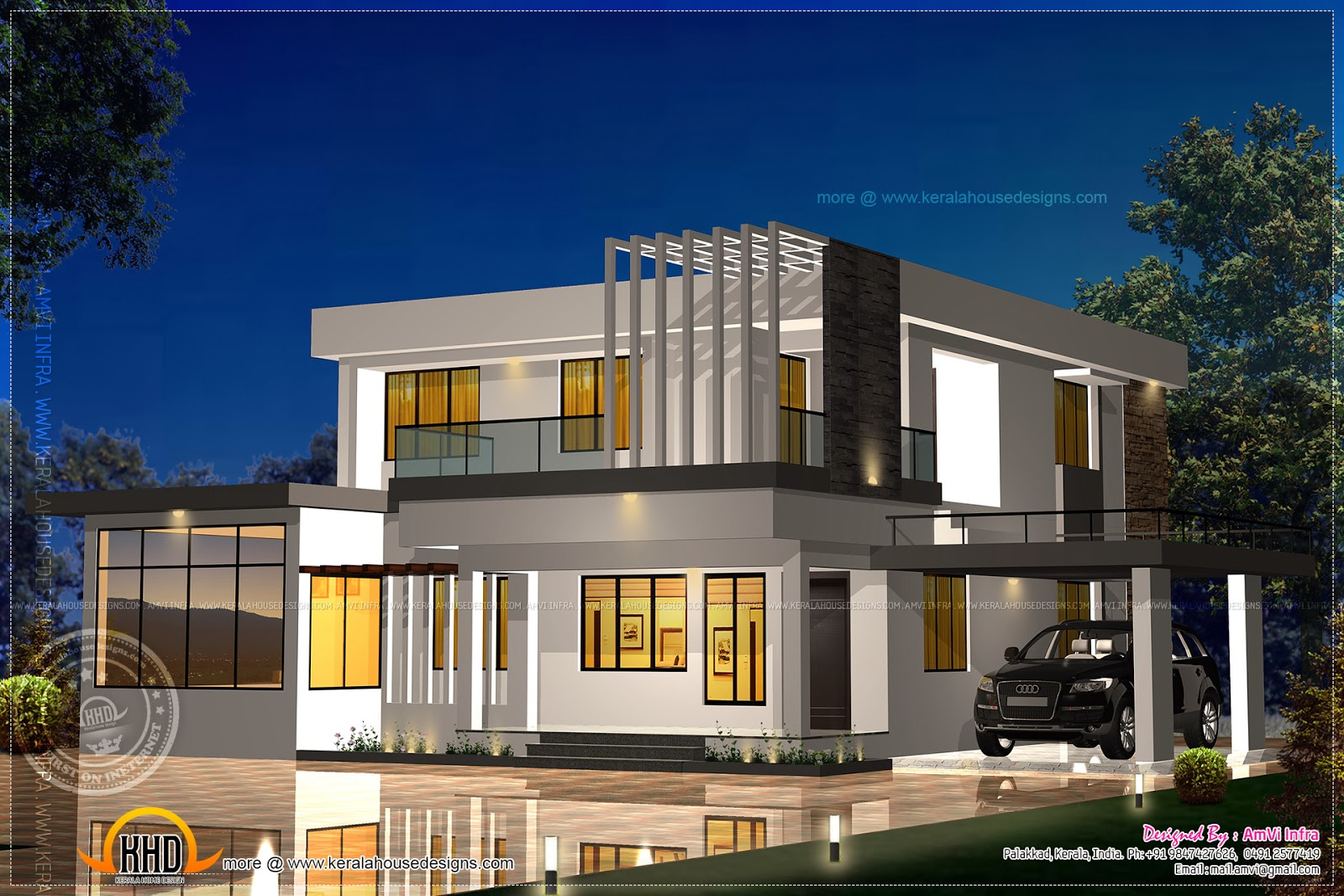 Elevation and floor plan of contemporary home indian for Modern design home plans