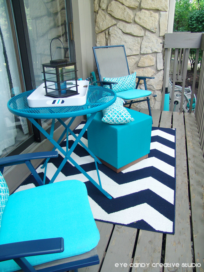 navy chevron rug, Target stool, patio chairs & table makeover, outdoors